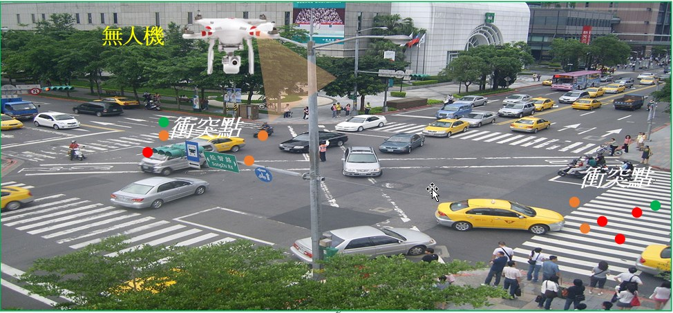 A drone taking photos of an intersection in Taipei. Photo courtesy of the Institute of Transportation