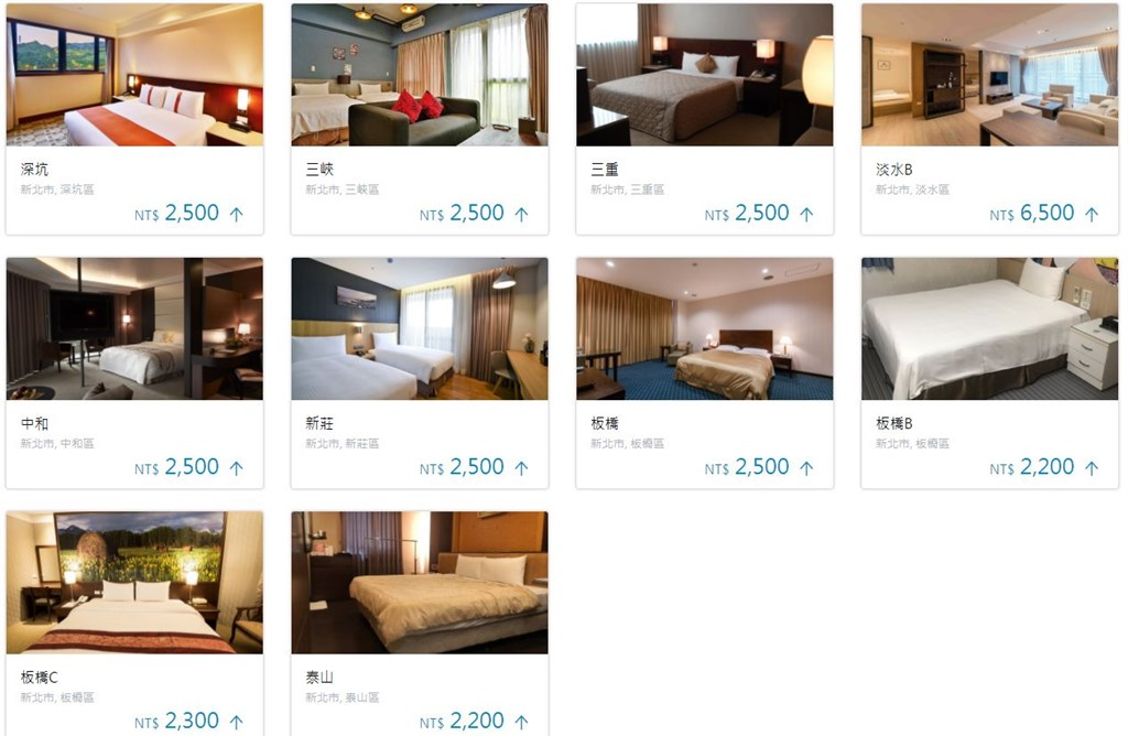 Image captured from New Taipei's quarantine hotel reservation website