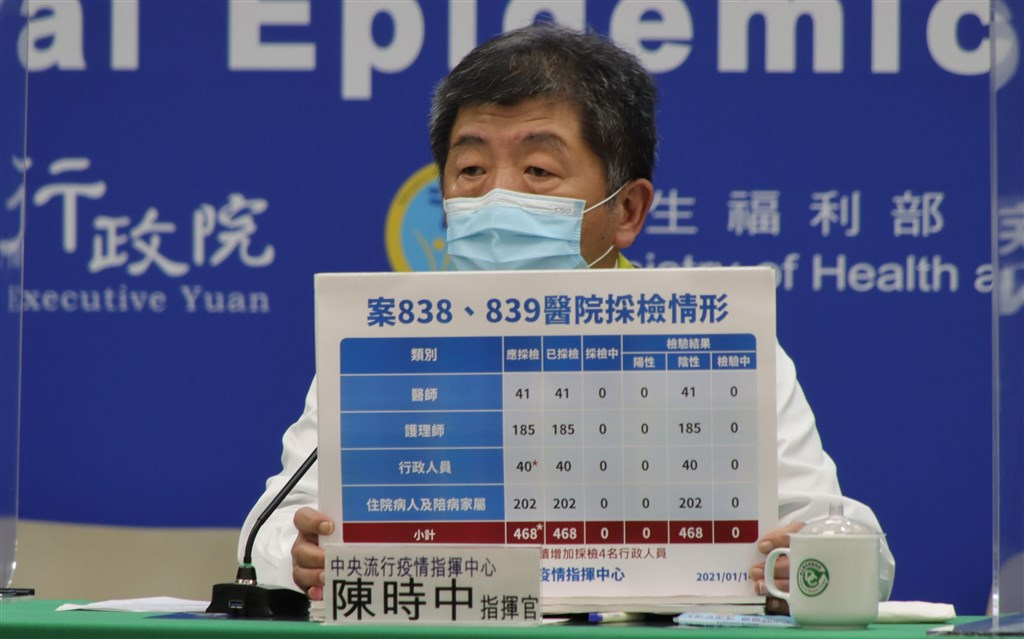 CECC head Chen Shih-chung (陳時中) at a press conference Thursday. Photo courtesy of the CECC, Jan. 14, 2021