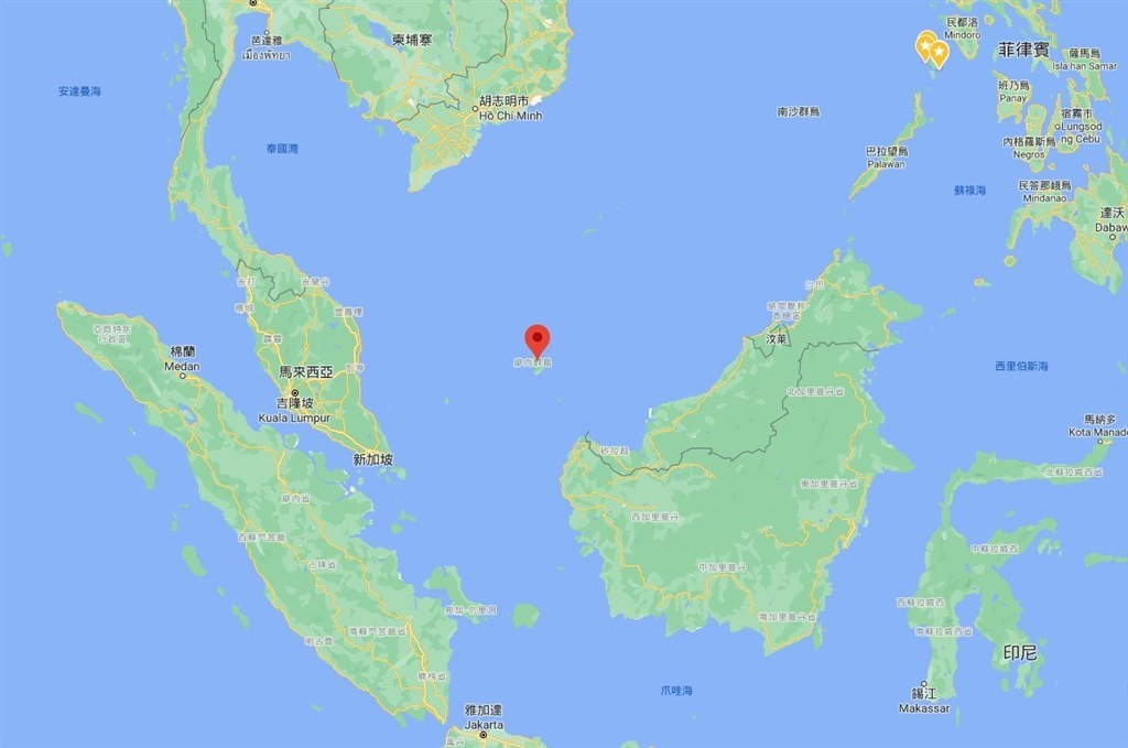 Indonesia Navy spots a Taiwanese vessel fishing in the North Natuna Sea which is the Indonesian Exclusive Economic Zone. Image taken from Google map