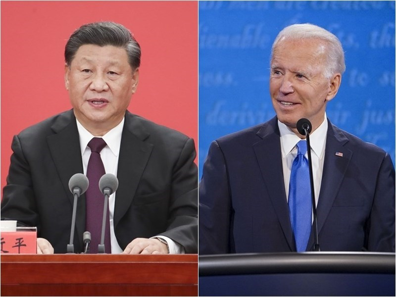 (left) photo courtesy of China News Service; (right) image taken from facebook.com/joebiden