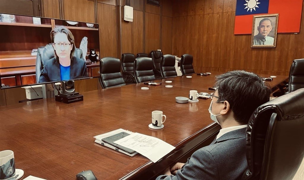 Centers for Disease Control Director-General Chou Jih-haw (周志浩) participates in a virtual meeting with Taiwan