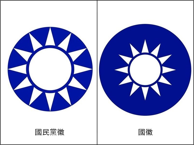 KMT emblem (left), ROC national emblem (right); Image taken from Wikimedia Commons