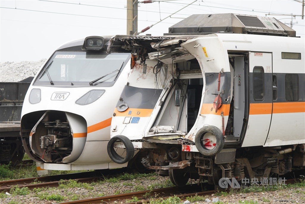 The Taroko Express train crashed in the April 2 accident in Hualien. CNA photo April 5, 2021