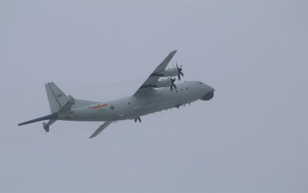 A PLA Y-8 plane, one of the types of the Chinese military aircraft that entered Taiwan