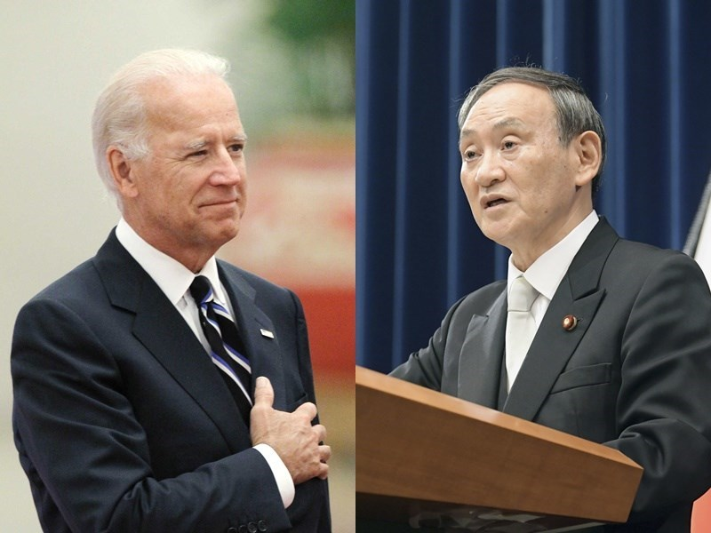 United States President Joe Biden (left) and Japanese Prime Minister Yoshihide Suga / Photo courtesy of Kyodo News
