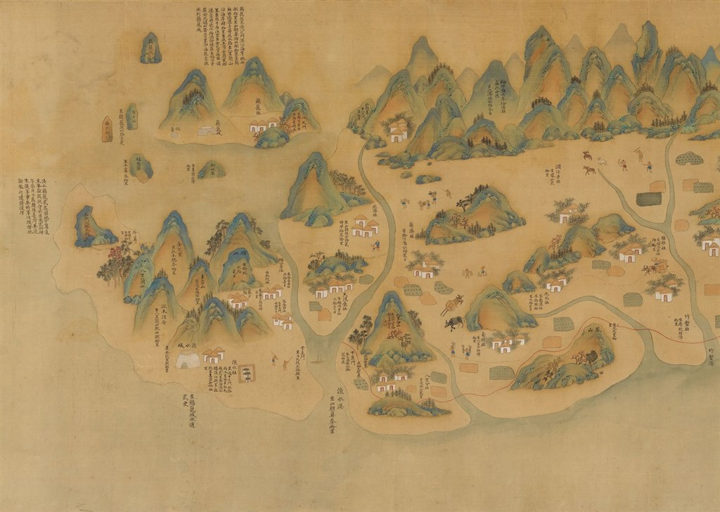 Part of the 1930 copy of a map first drawn between 1699 and 1704 under the Qing emperor of Kanxi. Image courtesy of the National Palace Museum