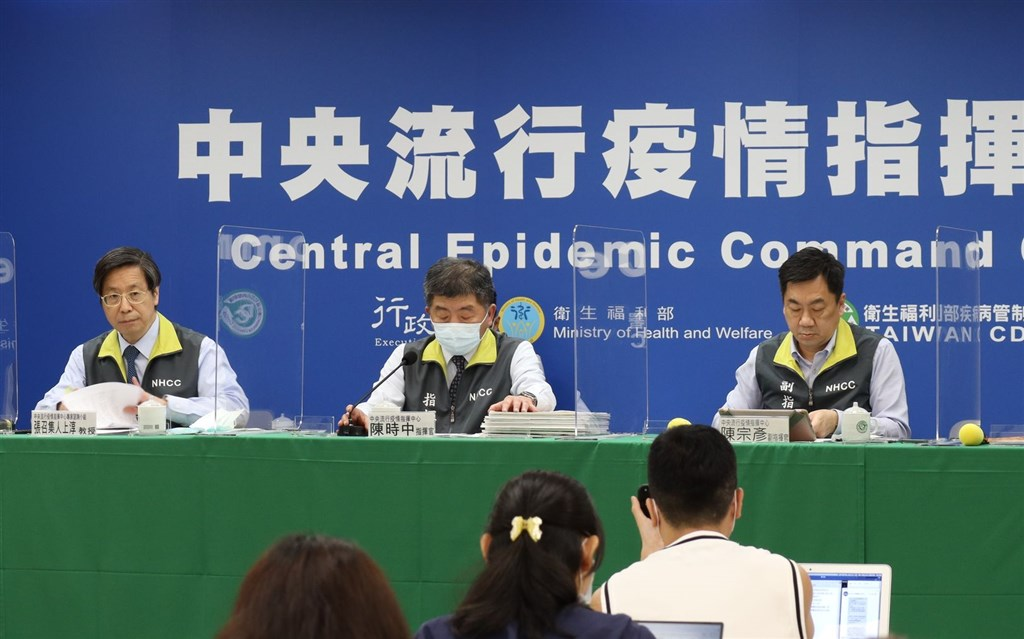 Officials at the CECC press briefing on Monday. Photo courtesy of the CECC
