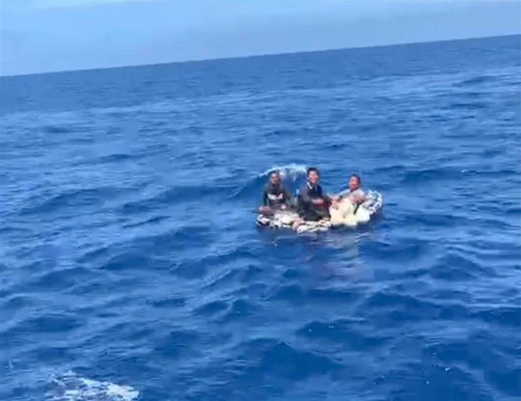Three crew members are found drifting at sea. Photo courtesy of a private contributor