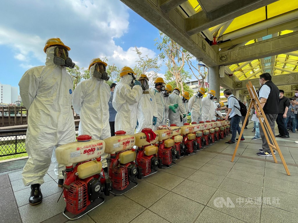 Disinfection workers in Taipei
