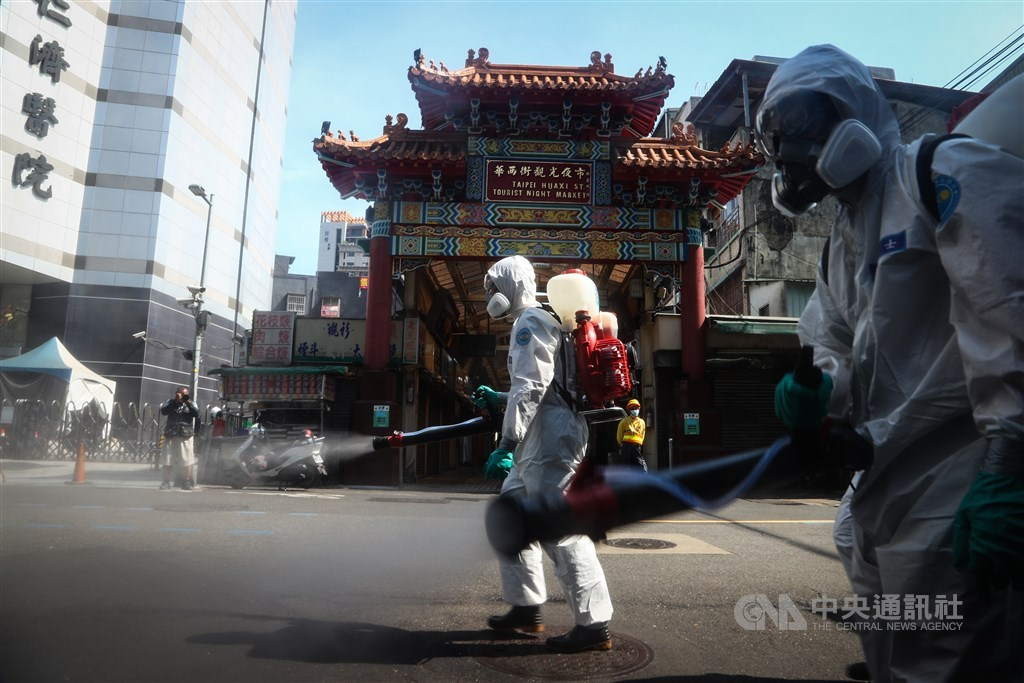 Soldiers are deployed on Sunday to disinfect around Taipei