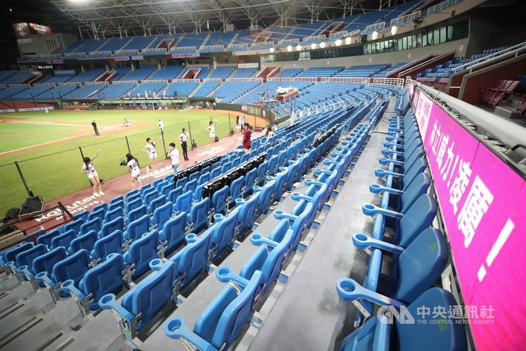 An undated photo shows a baseball game in Taiwan played with empty seats amid the COVID-19 pandemic. CNA file photo