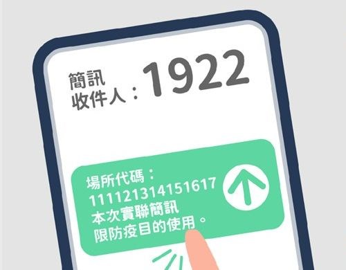 The process can be done by sending to 1922 a text message generated after scanning a QR code. Image courtesy of the Executive Yuan