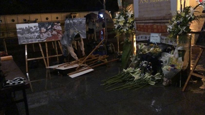 A picture stand in a memorial tent for the Tiananmen Square incident is seen lying on the floor on June 4 after being vandalized by an unidentified man. (Photo courtesy of the New School for Democracy)