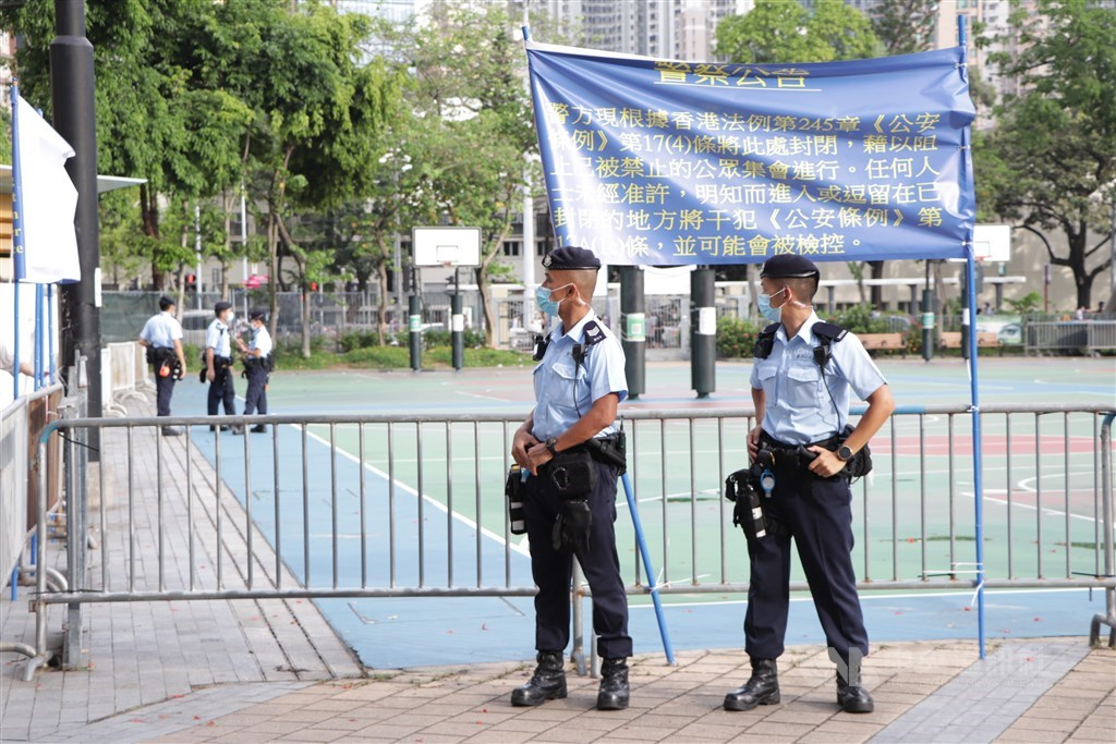 Hong Kong police closes Victoria Park, where the vigil to commemorate the 1989 Tiananmen Square crackdown had been held for years until 2019, on Friday. CNA photo June 4, 2021