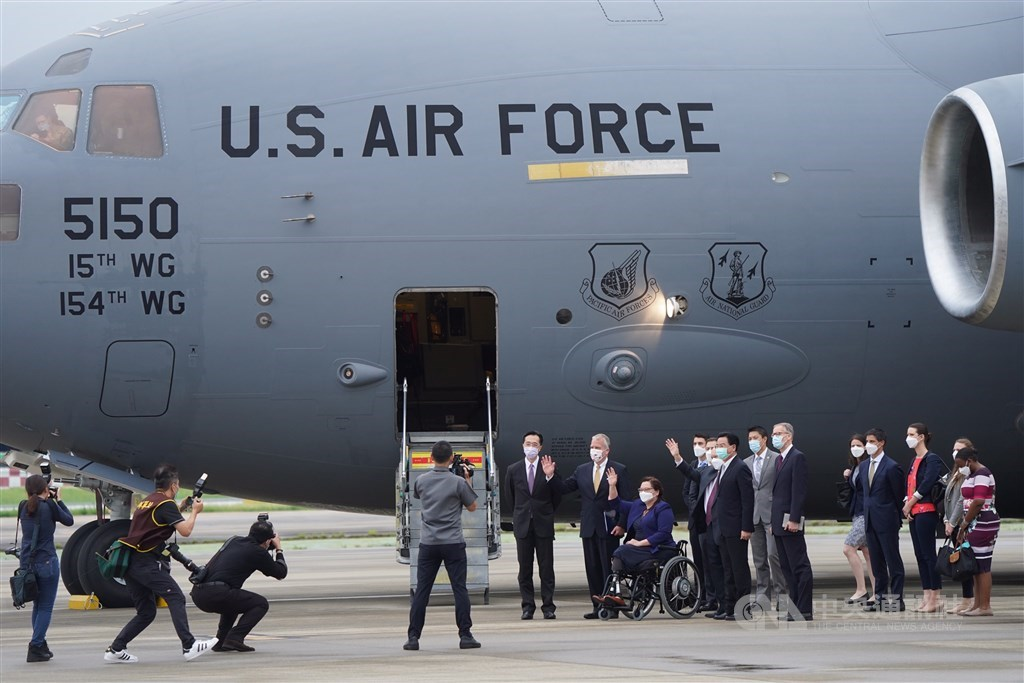 The U.S. Air Force plane that flew the three visiting senators is picture in Taipei Songshan Airport Sunday. CNA photo June 6, 2021