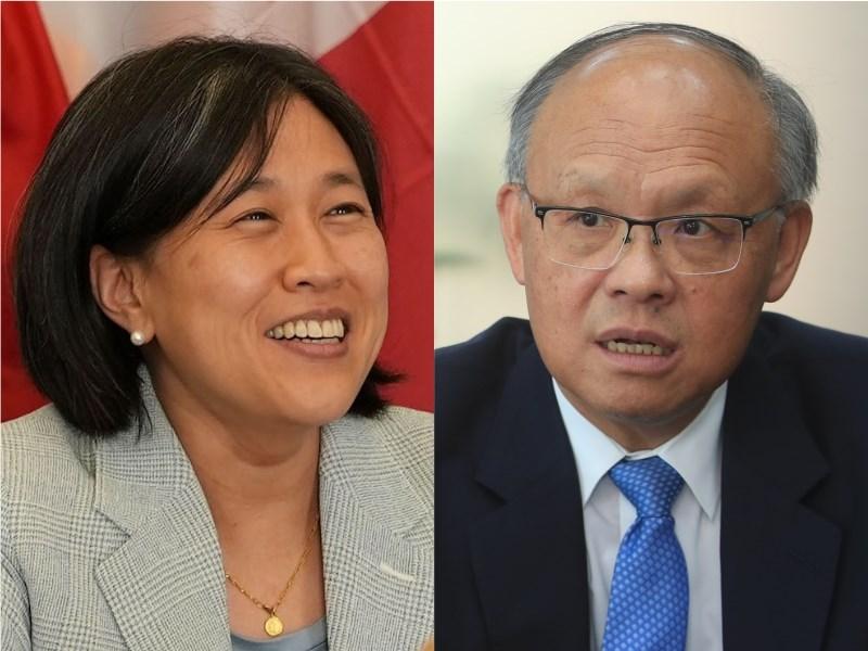 U.S. Trade Representative Katherine Tai (left, image taken from https://focustaiwan.tw/society/202106100015) meets virtually with Taiwan Minister-Without-Portfolio John Deng (right, CNA file photo)