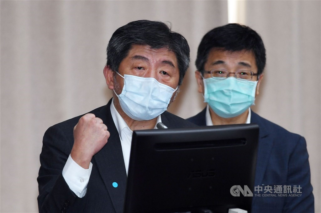 Health Minister Chen Shih-chung (left) attends a legislative hearing with Centers for Disease Director General Chou Jih-haw on Friday. CNA photo June 11, 2021