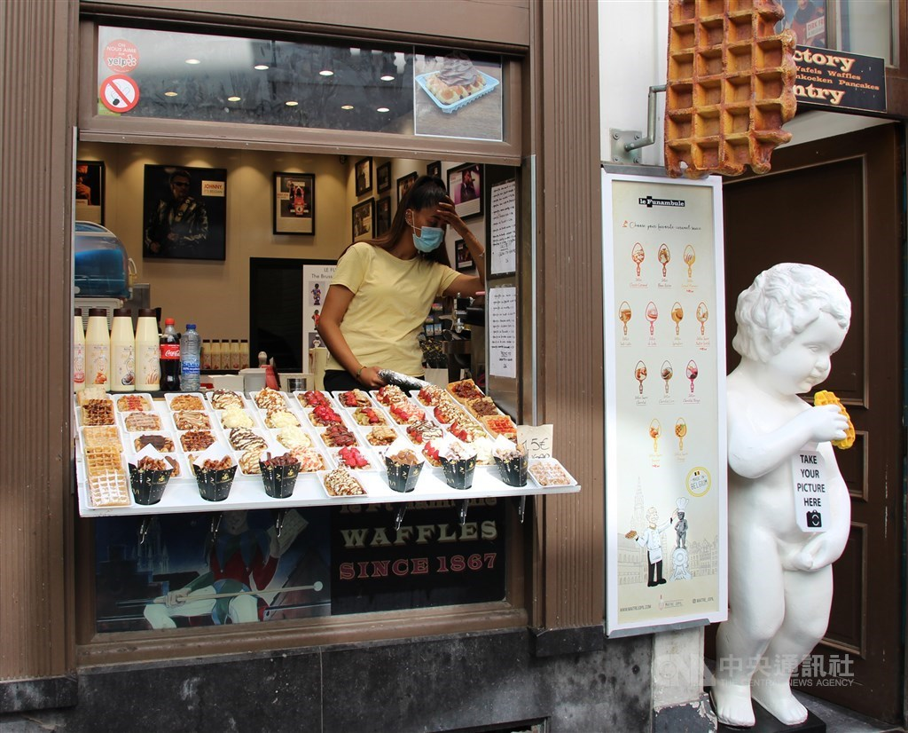 A waffle shop in Brussels. CNA file photo