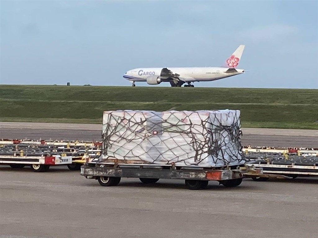A China Airlines cargo plane lands at Memphis International Airport in Tennessee to pick up the COVID-19 vaccines donated to Taiwan on Saturday. Photo courtesy of Taiwan