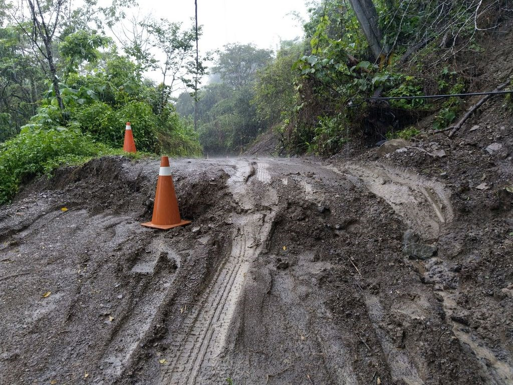 A road in Liugui District damaged by a landslide brought by the rain on Tuesday. Image courtesy of the Liugui Precinct