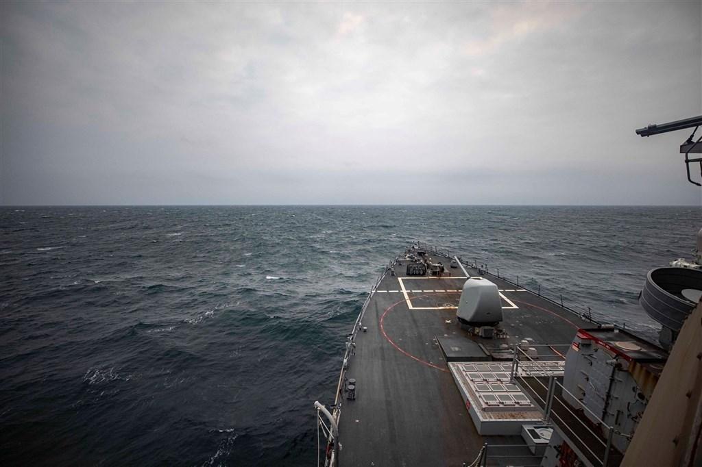 Destroyer USS John McCain Transits Taiwan Strait in April. Image from facebook.com/USPacificFleet
