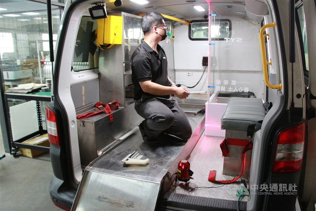 Johnson Yang in an ambulance fitted with his design. CNA photo June 26, 2021