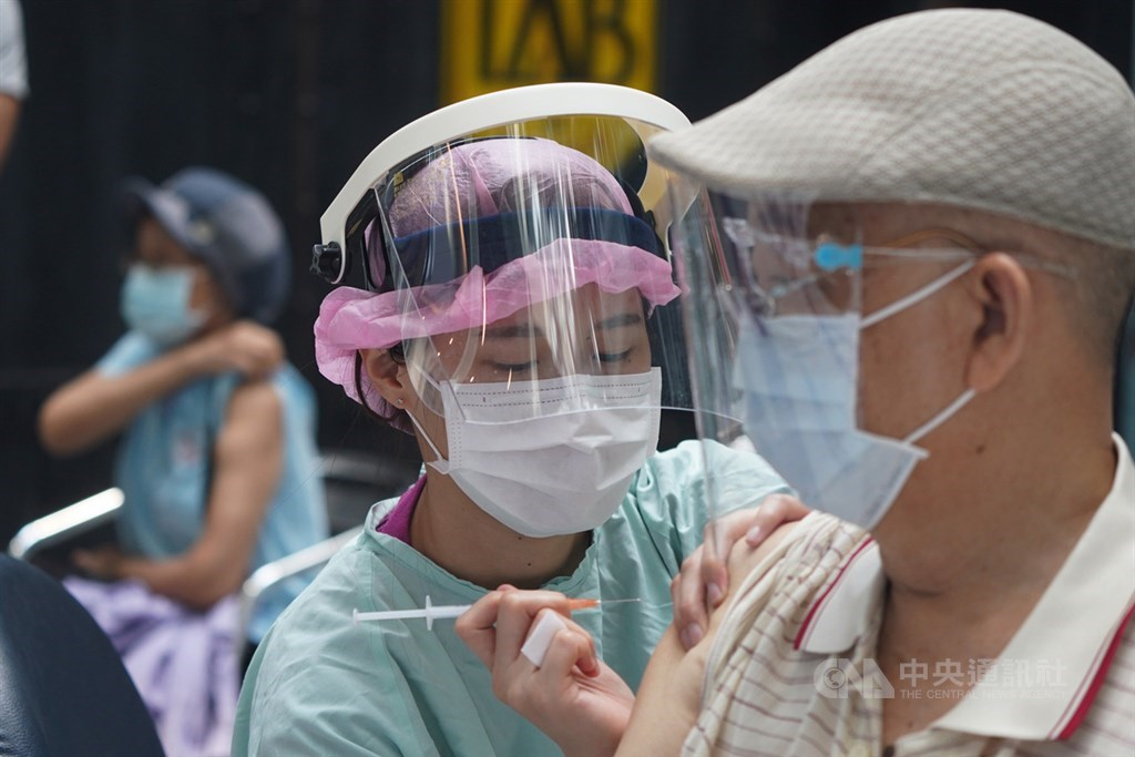 A man receives a COVID-19 vaccine shot in Taipei on Monday. CNA photo July 12, 2021