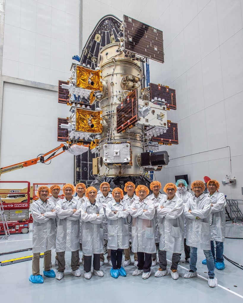 One of the satellites in the FormoSat-7 space project, which was launched in June 2019. Photo courtesy of National Space Organization