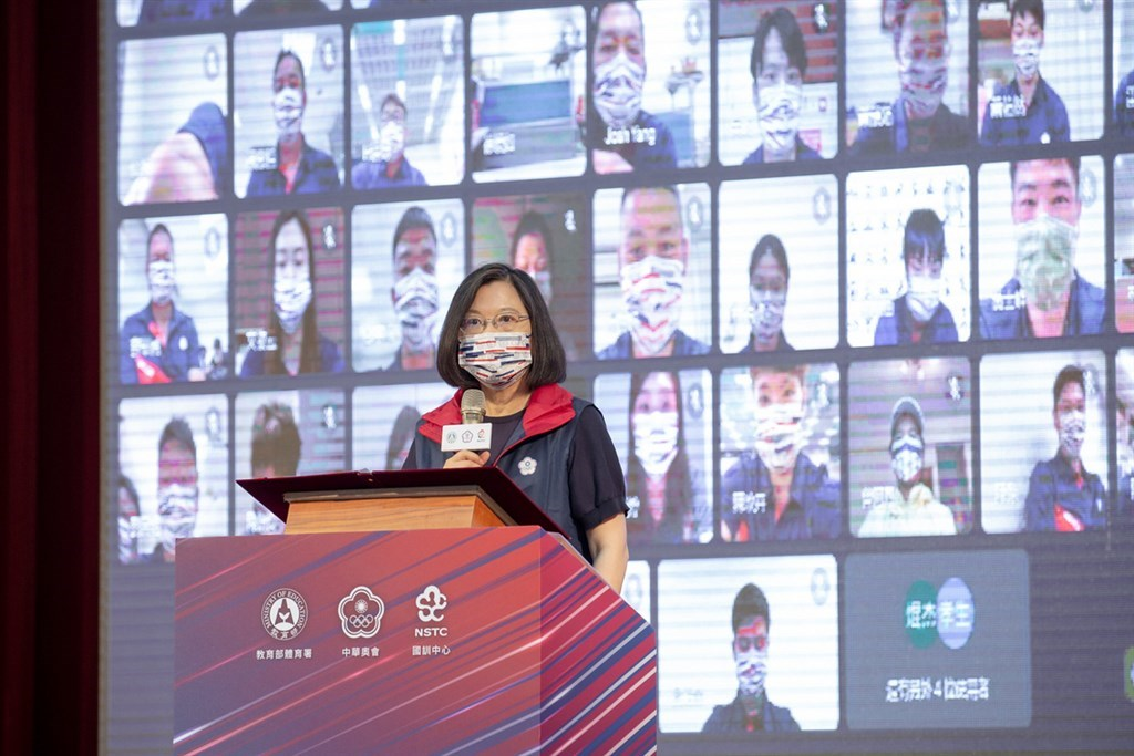 President Tsai speaks to athletes representing Taiwan at the Tokyo Olympics via video conferencing on July 12. Photo courtesy of the Presidential Office