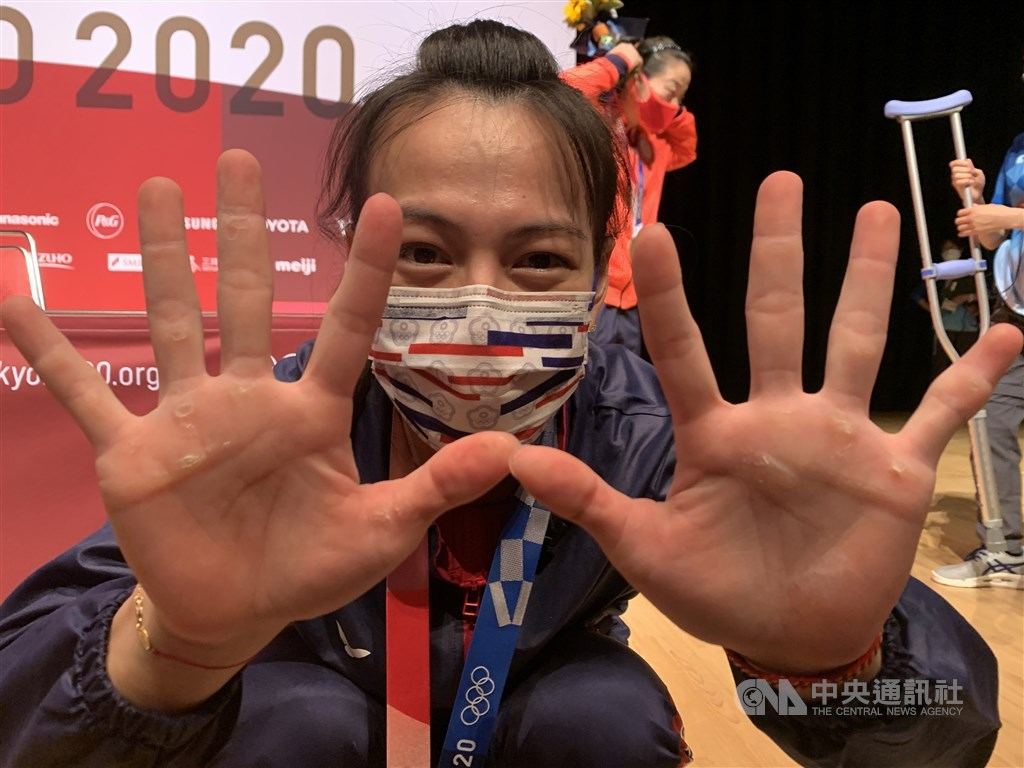 Weightlifter Kuo Hsing-chun. CNA photo July 27, 2021