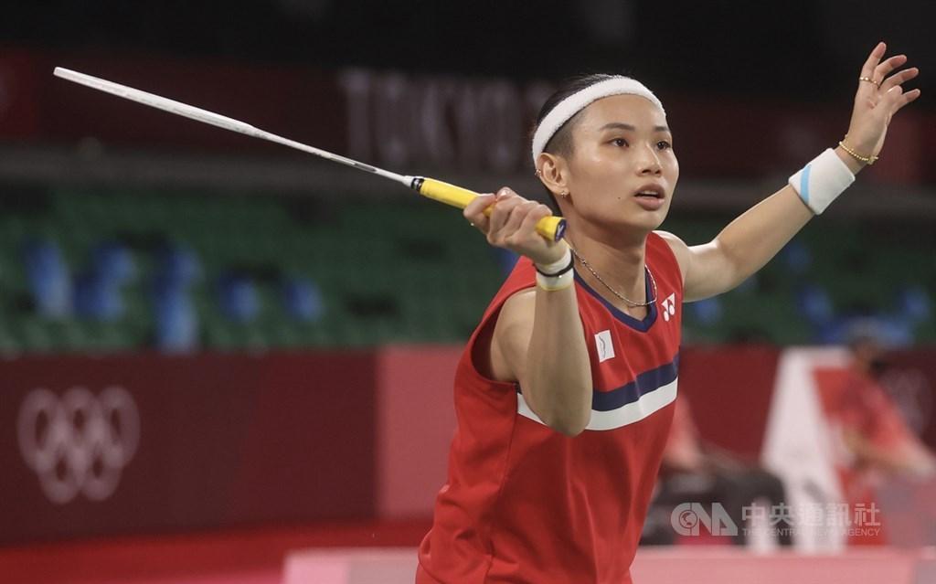 Taiwanese badminton ace Tai Tzu-ying swings her racket in a women