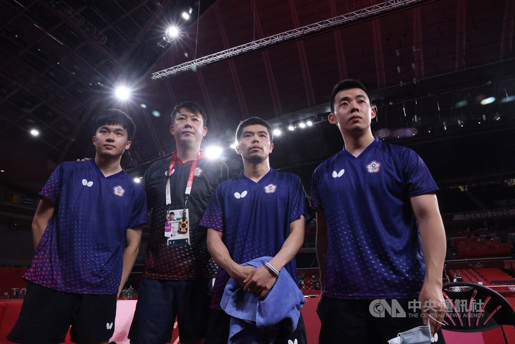 From left: Lin Yun-ju, team coach Chiang Peng-lung, five-time Olympian Chuang Chih-yuan, and Chen Chien-an. CNA photo Aug. 3, 2021
