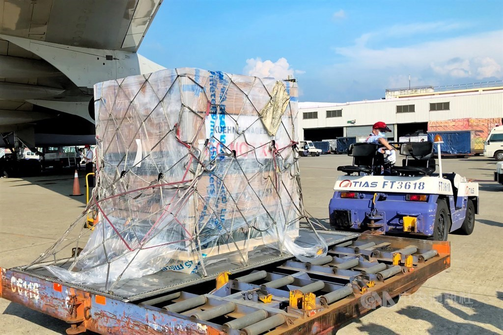 The shipment of Moderna vaccine doses that arrived in Taiwan on Sunday. CNA photo Aug. 8, 2021