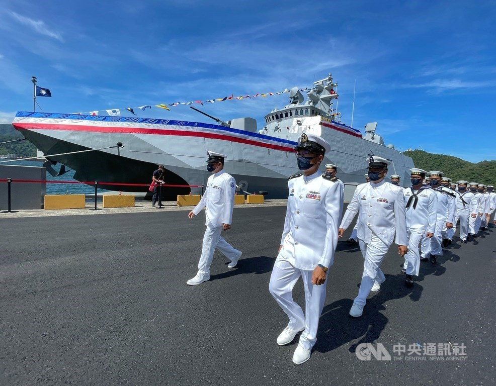 The Ta Chiang (PGG-619), a Tuo Chiang-class stealth multi-mission corvette, is commissioned by the Navy on Thursday. CNA photo Sept. 9, 2021