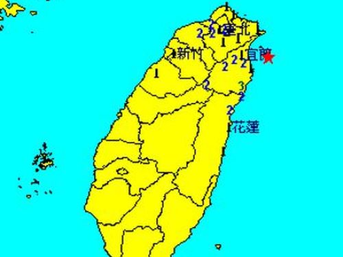 台湾北東部でM4.7の地震、宜蘭南澳で震度3
