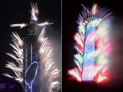 LEDを使用した巨大網形状装飾が初めて導入される台北101の新年花火