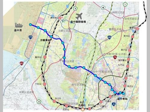 台中メトロ・ブルーラインの路線計画図=台中市政府提供