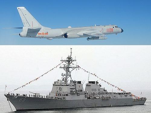 中国軍のH6爆撃機(上=国防部提供)と米軍のミサイル駆逐艦マッキャンベル(下=ウィキメディアコモンズから)