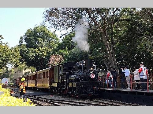 蒸気機関車がけん引するヒノキ列車
