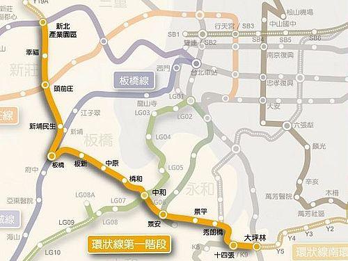 台北メトロ(MRT)環状線第1区間の路線図=新北市捷運工程局提供