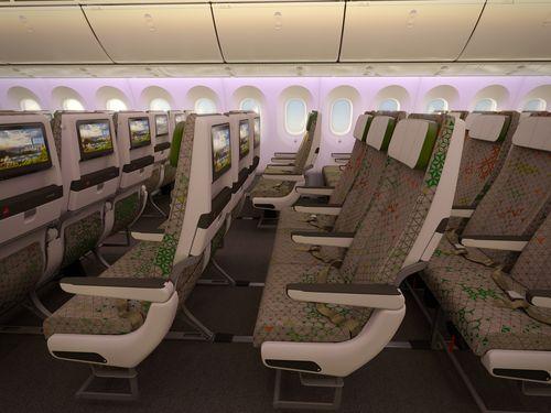 エバー航空のボーイング787-9型機機内様子=同社提供