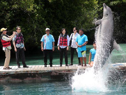 パラオでイルカの施設を視察する蔡総統(左から4人目)