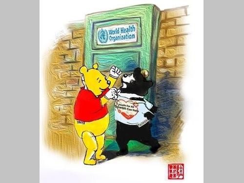 """""""プーさん""""の風刺画で中国を批判  台湾のWHO参加妨害で"""