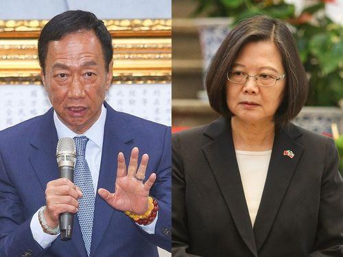左から鴻海の郭台銘会長、蔡英文総統