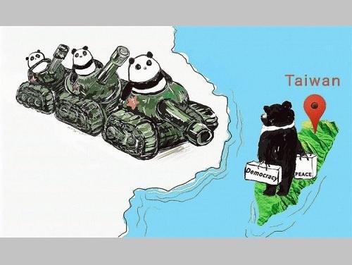 駐ドイツ台北代表処ミュンヘン弁事処が投稿した台湾と中国の現状を表すイラスト=同処のフェイスブックページより