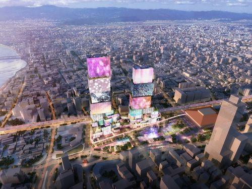ツインタワー「台北双子星」の完成イメージ=南海コーポレーション提供