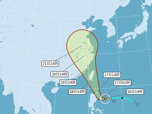 台風5号の進路予想図=中央気象局提供