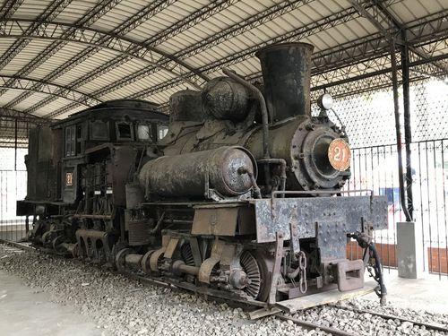 嘉義公園に展示されていた阿里山鉄道の蒸気機関車「SL-21」=阿里山林業鉄路・文化資産管理処提供