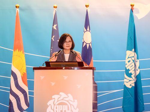 「アジア・太平洋国会議員連合」総会の開会式であいさつをする蔡総統